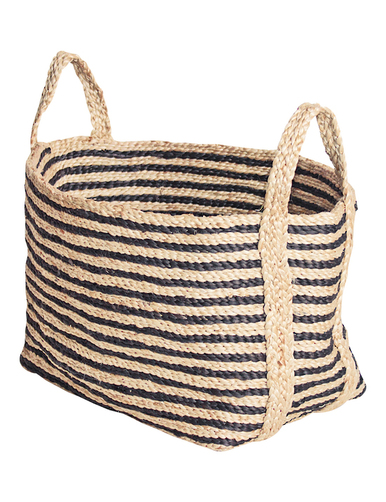 jute charcoal strriped basket