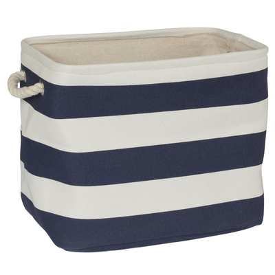 navy striped basket